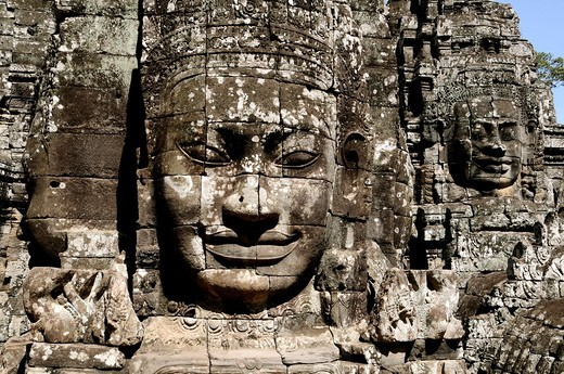 Stock Photo: 1566-619206 Cambodia, Siem Reap, Angkor classified World Heritage by UNESCO, the ancient city of Angkor Thom, Bayon Temple built by King Jayavarman VII