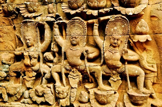 Cambodia, Siem Reap Province, Angkor site listed as World Heritage by UNESCO, bas relief detail of the terrace of the Leper King : Stock Photo