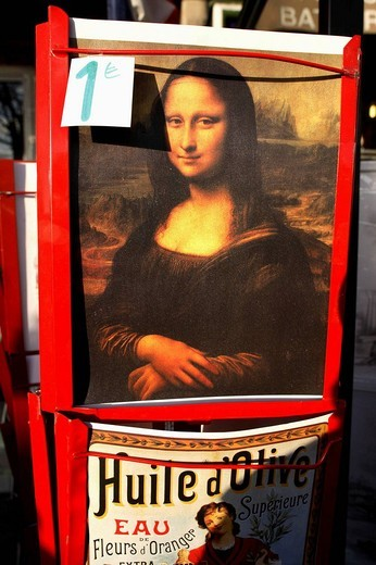 Stock Photo: 1566-620265 A Mona Lisa poster for sale for 1 euro in a street of Paris. France