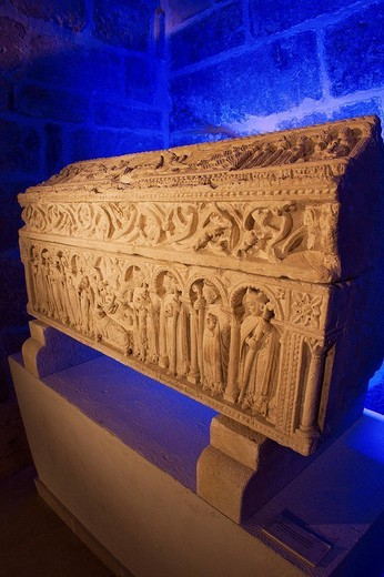 Stock Photo: 1566-622017 Romanesque sarcophagus of the Infante Sancho, son of Alfonso VIII King of Castile, in the lower cloister of the cathedral, Burgos, Castilla-Leon, Spain