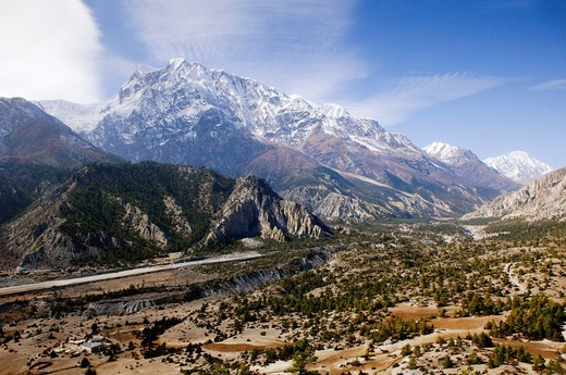 magnificent scenery in the high desert area of Mustang in the Annapurna region of Nepal : Stock Photo