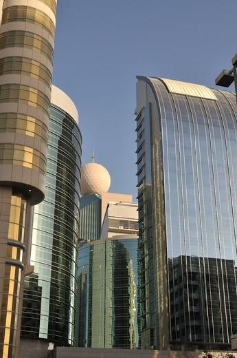 Ettisalat building, Abu Dhabi, United Arab Emirates : Stock Photo