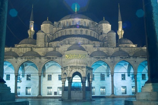 Turkey, Istanbul, Sultan Ahmet Camii, Blue Mosque, Illuminated, Night : Stock Photo