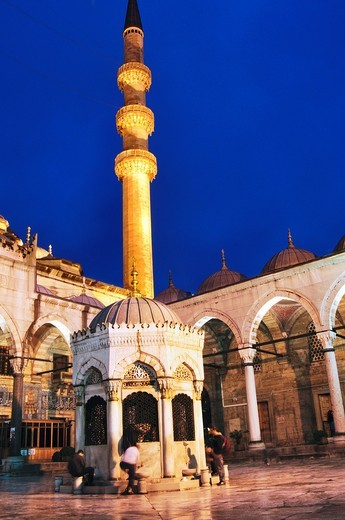 Turkey, Istanbul, The New Mosque or Mosque of the Valide Sultan at Night : Stock Photo