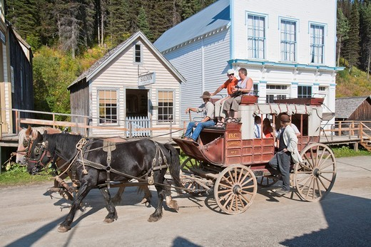 Stock Photo: 1566-625258 A horse carriage in the historic village of Barkerville, British Columbia, Canada