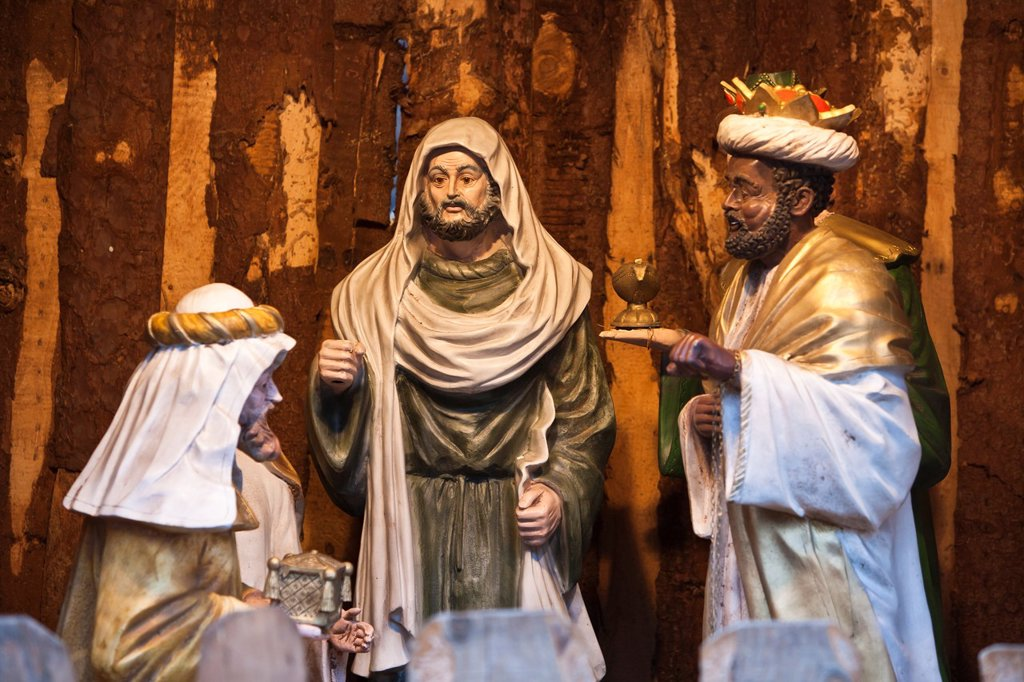 Stock Photo: 1566-625383 Close up of the three wise men in a manger, Bremen, Germany, Europe