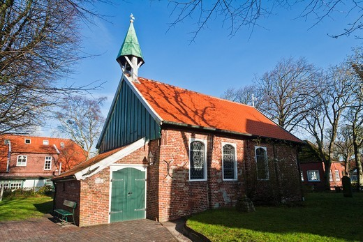 Stock Photo: 1566-625506 The Old Island Church on the island of Spiekeroog, Lower Saxony, Germany, Europe
