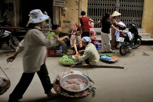People in the street, in the old city, Hanoi, Vietnam : Stock Photo