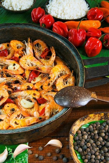 Pepper shrimps, Jamaican food, Jamaica, Caribbean : Stock Photo