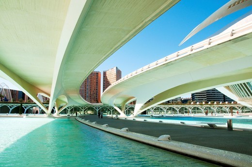 Stock Photo: 1566-626747 Monteolivet bridge, view from below  City of Arts and Sciences, Valencia, Spain