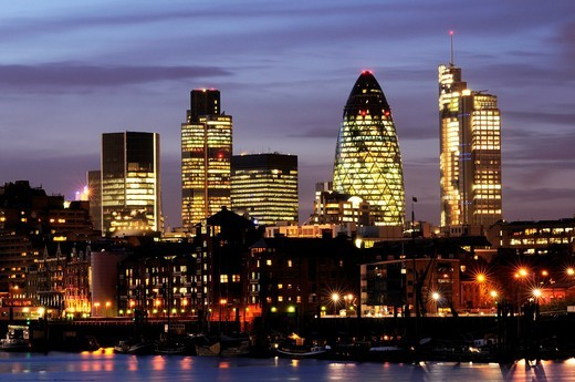 City of London Skyline at Night viewed from Bermondsey, London, England, Uk : Stock Photo