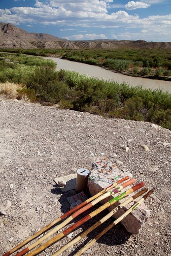 Stock Photo: 1566-628270 Big Bend National Park, Texas - Mexicans illegally cross the Rio Grande from the village of Boquillas del Carmen to sell walking sticks and other handicrafts to tourists visiting Big Bend National Park  American immigration authorities say purchasing the