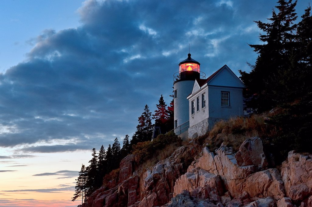 Stock Photo: 1566-628573 Bass Harbor Light, Bass Harbor, Acadia National Park, Maine, ME, USA