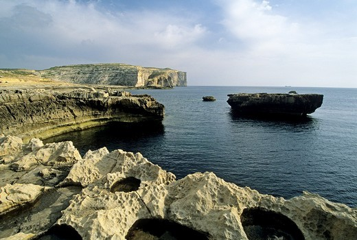 Dwejra Bay, Gozo, Malta, Mediterranean Sea, Europe : Stock Photo
