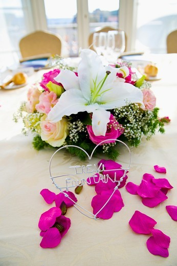 Stock Photo: 1566-629444 wedding dinner table ornaments and settings