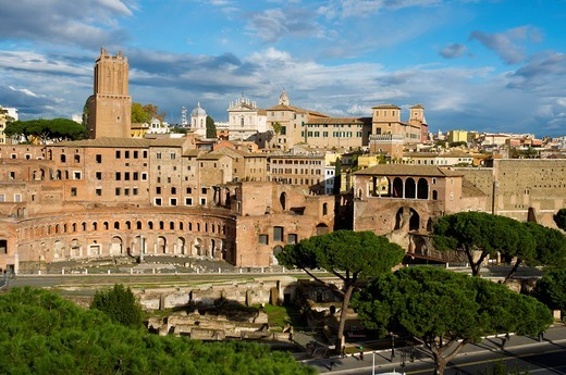 View towards Roman Forums from Campidoglio hill ancient Rome Italy Europe : Stock Photo