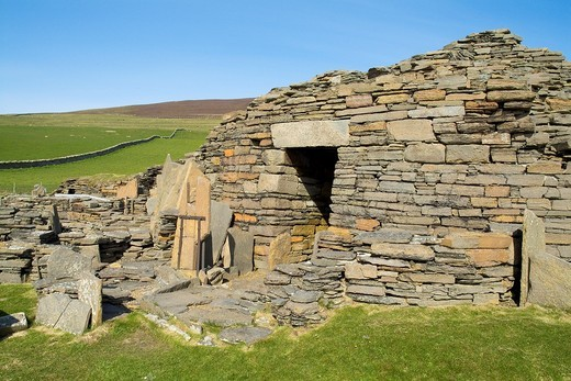 Midhowe Broch ROUSAY ORKNEY Iron age fortified defensive dwelling stronghold entrance : Stock Photo