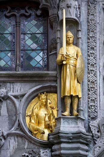 Stock Photo: 1566-630847 golden figure  Bruges, Belgium