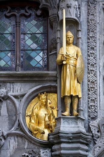 golden figure  Bruges, Belgium : Stock Photo