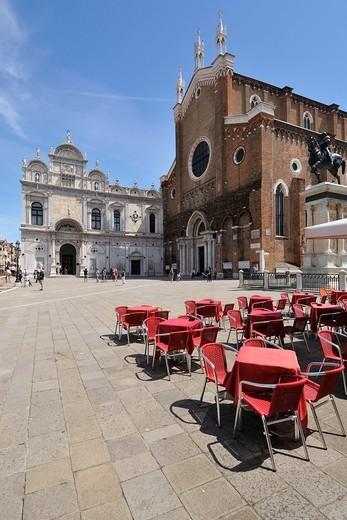 Stock Photo: 1566-631232 Venice  Italy  Campo Santi Giovanni e Paolo, Scuola Grande di San Marco Left the church of Santi Giovanni e Paolo Right, Castello