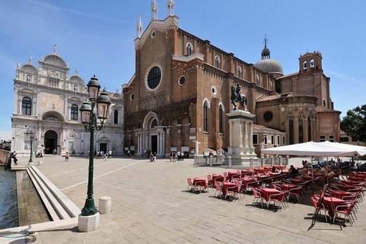 Stock Photo: 1566-631233 Venice  Italy  Campo Santi Giovanni e Paolo, Scuola Grande di San Marco Left the church of Santi Giovanni e Paolo Right, Castello