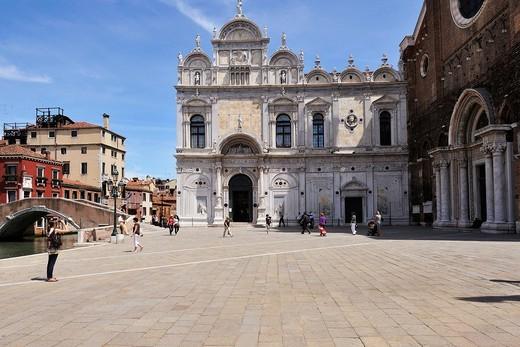 Stock Photo: 1566-631235 Venice  Italy  Campo Santi Giovanni e Paolo, Scuola Grande di San Marco Left the church of Santi Giovanni e Paolo Right, Castello