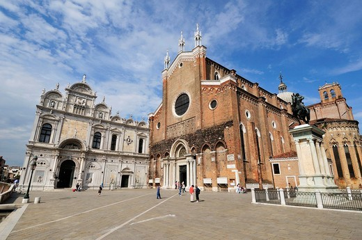Stock Photo: 1566-631245 Venice  Italy  Campo Santi Giovanni e Paolo, Scuola Grande di San Marco Left the church of Santi Giovanni e Paolo Right, Castello