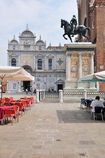 Stock Photo: 1566-631269 Venice  Italy  Campo Santi Giovanni e Paolo, Scuola Grande di San Marco, Castello