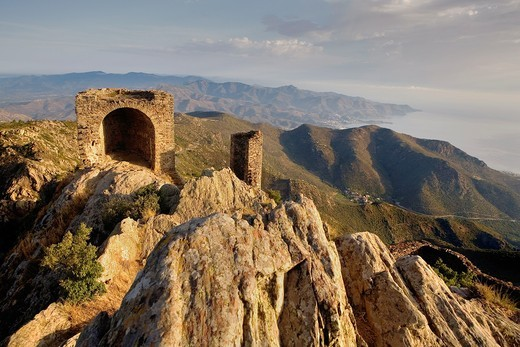 View from The ruins of Sant Salvador de Verdera castle Costa Brava  Girona province  Catalonia  Spain : Stock Photo