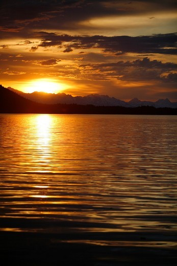 Stock Photo: 1566-632329 View of the shoreline at sunset from Colt Island in Stephen´s Passage of Admiralty Island, Southeast Alaska, USA  Pacific Ocean