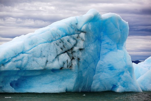 Le Conte Glacier calved iceberg resting on the terminal morraine just outside Petersburg, southeast Alaska, USA  Le Conte Glacier is the southernmost tidewater glacier in North America : Stock Photo