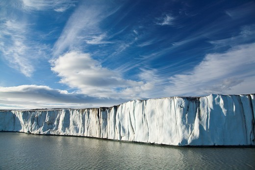 Stock Photo: 1566-633001 Late evening views of the Negrebreen Glacier melting in the sunlight on Spitsbergen Island in the Svalbard Archipelago, Barents Sea, Norway