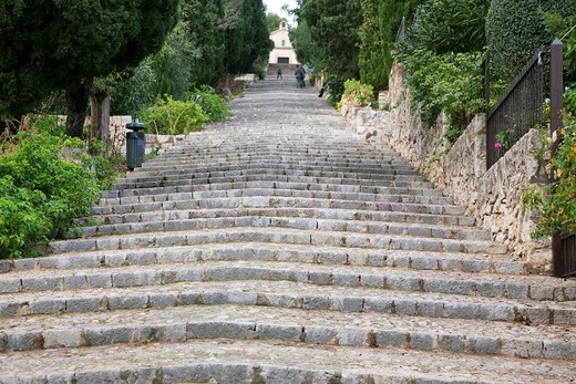 Pilgrim Steps of Calvari in Pollença, Mallorca, Spain : Stock Photo