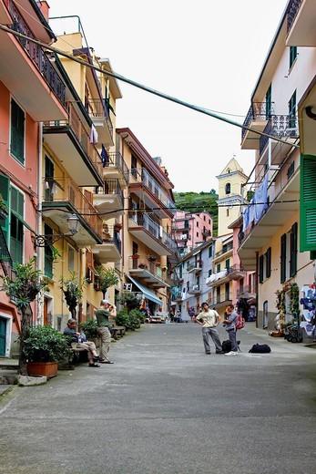Stock Photo: 1566-634161 Street scene in the village of Manarola in the Cinque Terre Region of Italy