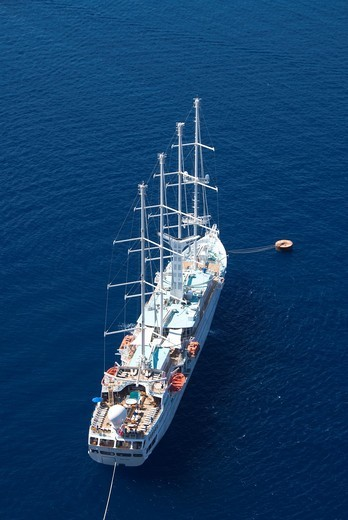 Stock Photo: 1566-634417 Four masted ship anchored, Fira, Santorini, Greece