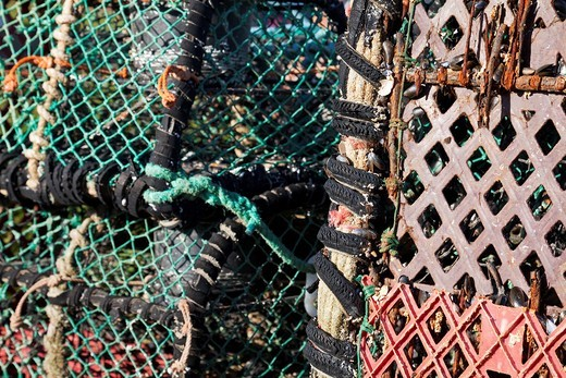 Stock Photo: 1566-635514 England Devon Beesands Lobster pots detail