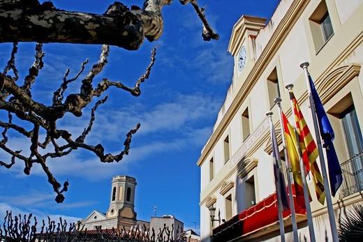 Town Hall, bell tower of the parish of Sant Andreu, Sant Andreu de Llavaneras, Catalonia, Spain : Stock Photo