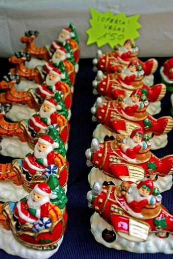 Stock Photo: 1566-635812 Santa Candles, Christmas decorations.