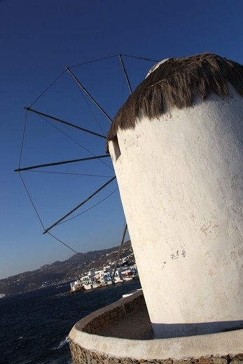 Windmills, Mykonos, Cyclades Islands, Greece, Europe : Stock Photo