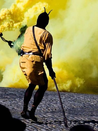 Stock Photo: 1566-636856 Man as the Sin during La Morisma festival, Main Square, Ainsa. Sobrarbe, Huesca province, Aragon, Spain