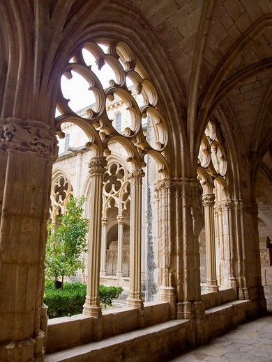 14th century Gothic cloister with carvings attributed in part to the master mason Reinard de Fonoll, Cistercian monastery of Santes Creus. Aiguamurcia, Alt Camp, Tarragona province, Catalonia, Spain : Stock Photo