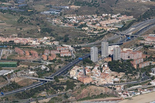 Stock Photo: 1566-638466 Spain, Catalonia, Barcelona, El Maresme, Montgat. N-II road and freeway C-32