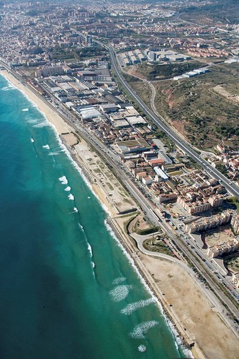 Spain, Catalonia, Barcelona, Barcelonés, Badalona, industrial area between C-32 freeway and N-II road : Stock Photo