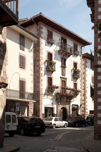 Casa Poskonea, Elizondo, Baztan Valley, Navarra Nafarroa, Spain España : Stock Photo