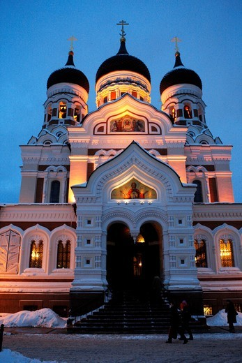 Alexander Nevsky cathedral in Toompea  Christmas in Tallin Estonia : Stock Photo