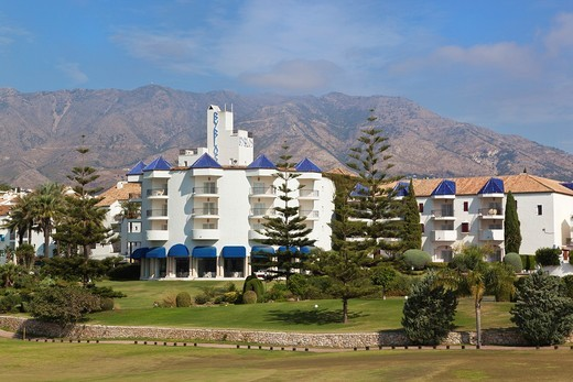 Stock Photo: 1566-639769 Luxury five star Byblos Hotel seen over Los Lagos golf course, Mijas-Costa, Costa del Sol, Malaga Province, Spain