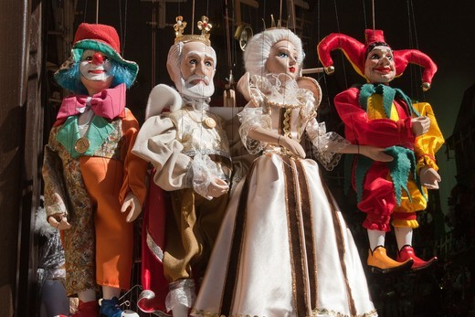 Stock Photo: 1566-640025 Souvenir,Tipical marionettes hanging from their threads, Prague, Czech Republic