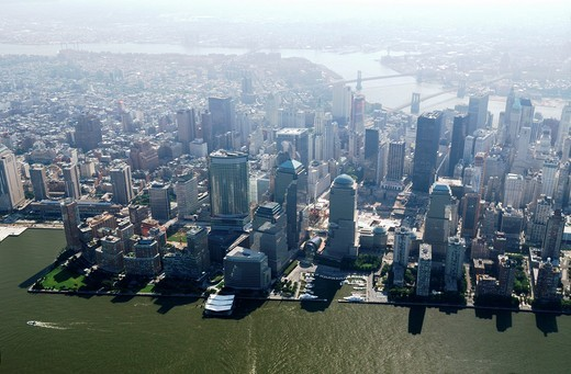 Aerial of south Manhattan, note in middle Ground zero still in construction, site of World Trade Center, New York city, USA, 25/08/09 : Stock Photo