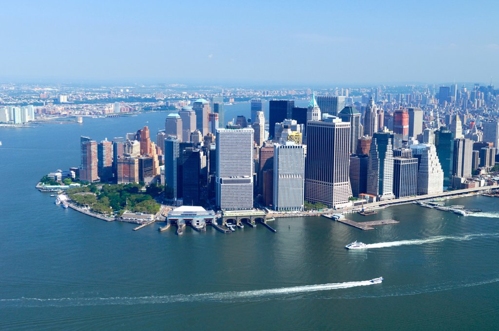 Stock Photo: 1566-640083 Aerial view of Battery Point, Financial district and East river, Lower Manhattan, New York city, USA