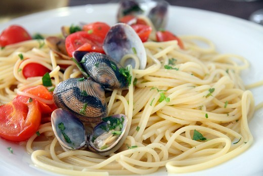 Spaguetti with fruti di mare Santa Teresa di Gallura in Sardinia Italy : Stock Photo